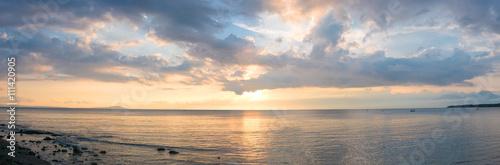 Sunset and ocean view on paradise beach Negara - Bali Island, In Canvas Print