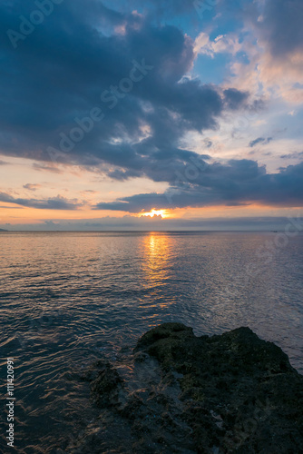 Sunset and ocean view on paradise beach Negara - Bali Island, In Canvas Print