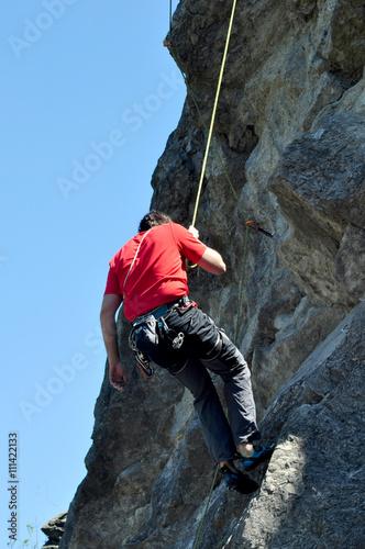 Foto op Plexiglas Alpinisme rock climber