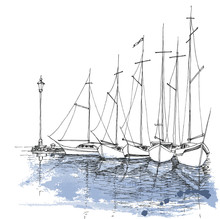 Boats On Water, Harbor Sketch,...