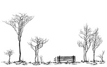 Stylized Park Decor, Bench And...