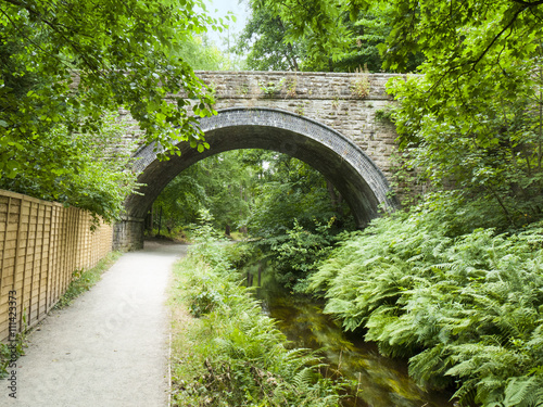 Fotomural Bridge over Llangollen canal with towpath Wales UK