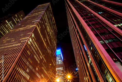 skyscrapers windows at the night in New York City - 111424324