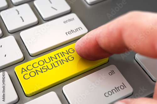 Selective Focus on the Accounting Consulting Key. Hand Finger Press Accounting Consulting Button. Modernized Keyboard with Accounting Consulting Yellow Button. 3D Render. - 111424350