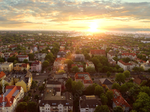 In de dag Centraal Europa Aerial View Of townhouses in sunset - germany