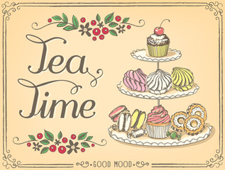 Fototapeta Do gastronomi Retro illustration Time for tea with sweet pastries and cupcakes