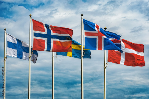 Stickers pour porte Scandinavie Flags of Scandinavia
