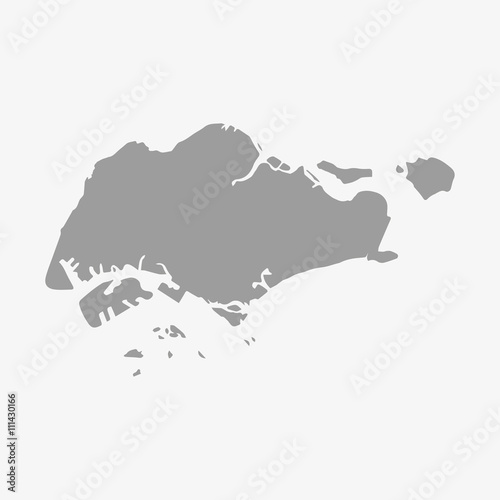 Foto  Singapore map in gray on a white background