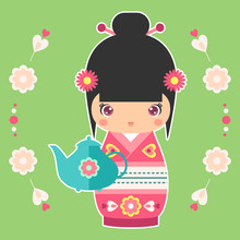 Vector Illustration Of Japanese Kokeshi Doll With Teapot. Print For T-shirt, Elements For Card Design. Baby Art