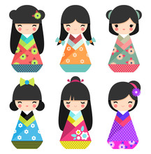 Set Of Cute Japanese Kokeshi Dolls