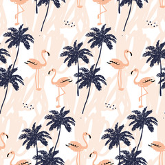 Tapeta Palm trees silhouette and blush pink flamingo on the white background with strokes. Vector seamless pattern with tropical birds and plants.