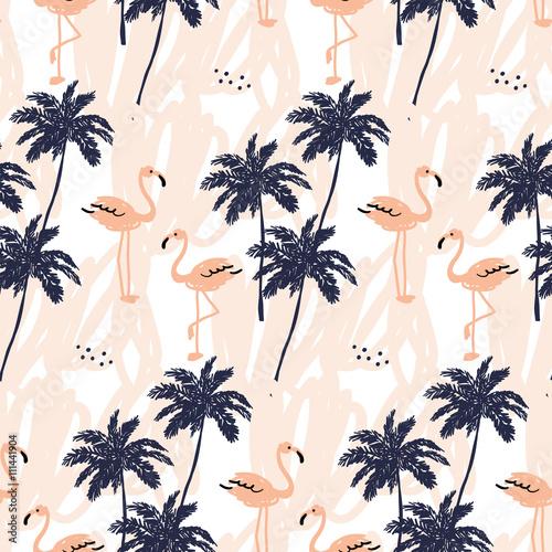 sylwetka-drzewa-palmowego-i-rumieniec-rozowy-flamingo-na-bialym-tle-z-uderzen-wektorowy-bezszwowy-wzor-z-tropikalnymi