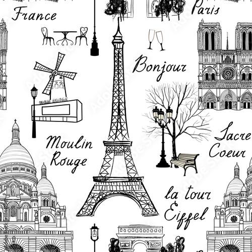 Tapety Francuskie  podroz-wzor-paryza-tapeta-wakacje-w-europie-podrozuj-aby-odwiedzic-slynne-miejsca-w-tle-francji-punkt-orientacyjny-kafelkowy-wzor-grunge