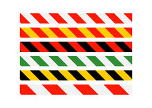 Road Signs. Types Of Multi-colored Road Warning Bands. Vector Il