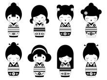 Set Of Outline Japanese Kokeshi Dolls