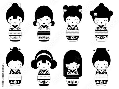 Photo  Set of outline Japanese Kokeshi Dolls