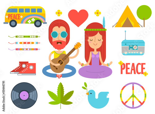 c4356febea79 Set of color hippie vector flat icons. Infographic elements. Hippie ...
