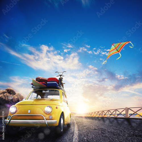 obraz lub plakat 3D rendering of holiday on the road