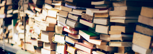 Obraz na plátně Stack of books at the bookshop