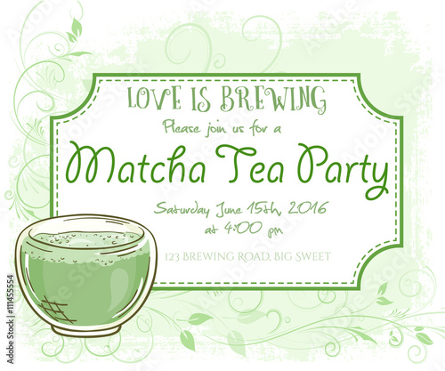 Vector Hand Drawn Matcha Tea Party Invitation Card Vintage Frame