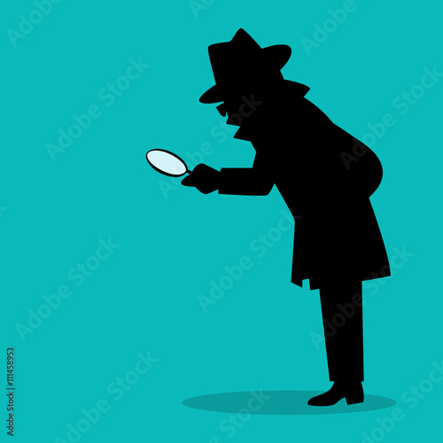 Photo  Cartoon silhouette of a detective