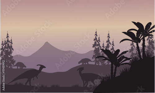parasaurolophus in hills scenery silhouette Canvas Print