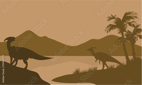 Silhouette of parasaurolophus in lake Canvas Print