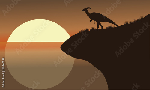 At afternoon silhouette of parasaurolophus Canvas Print