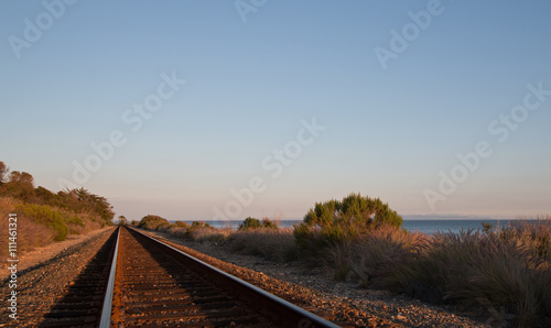 Railroad Railroad tracks on the Central Coast of California at Goleta - Santa Barbara at sunset