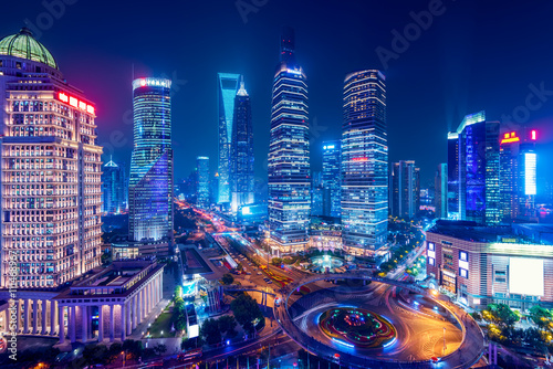 Photo  Night view of Lujiazui