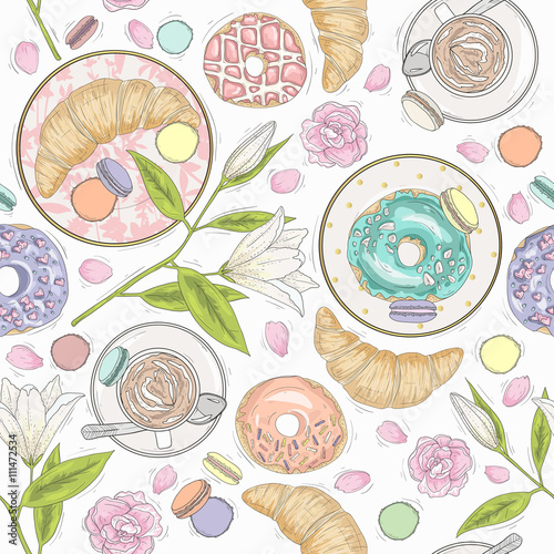 Cotton fabric Seamless breakfast pattern with flowers, pastries and coffee. Ve
