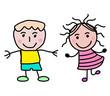 Strichzeichnung von zwei Kindern