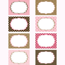 Pink And Brown Printable Labels.Tags,Photo Frame, Gift Tags,Card Making,Invitation Set.