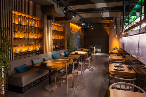 Spoed Foto op Canvas Restaurant Modern public place with stylish interior