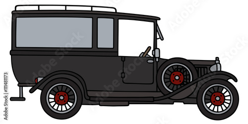 Fotografie, Obraz  Vintage funeral car / Hand drawing, vector illustration