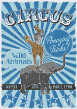 Circus Vintage Poster With Han...