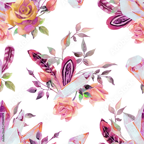 Cotton fabric Watercolor gems, feathers and flowers seamless pattern