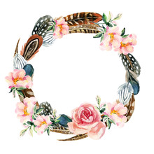 Watercolor Wreath With Bird Feathers And Flowers