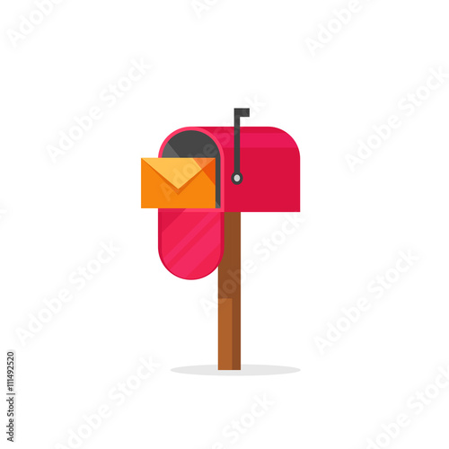 Cuadros en Lienzo Mailbox vector illustration isolated on white, flat post office box, red mail bo