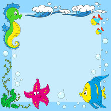 Frame Inhabitants Of The Ocean. Sea Life. Space For Text. Fish, Seahorse, Starfish, Waves