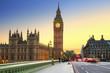 Big Ben and Westminster Bridge in London at sunset, UK