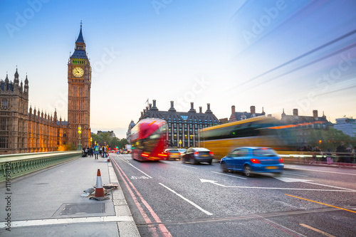 Big Ben and Westminster Bridge in London at dusk, UK Poster