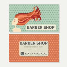 Barber Shop. Hair. Cute Vector Design Of Business Cards For  Barbershop With The Girl With Red Hair.