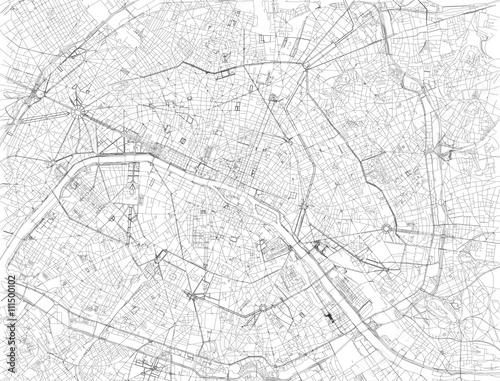 Mappa di Parigi, vista satellitare, strade e vie, Francia Fototapeta