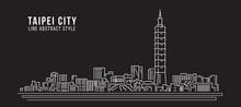 Cityscape Building Line Art Vector Illustration Design - Taipei City