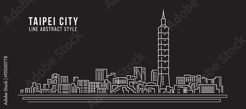 Fototapeta premium Pejzaż Budynek Grafika liniowa Projekt ilustracji wektorowych - miasto Tajpej