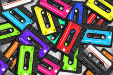 Old Audio Cassette. Multicolor...