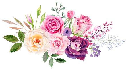 Fototapeta Róże hand painted watercolor mockup clipart template of roses