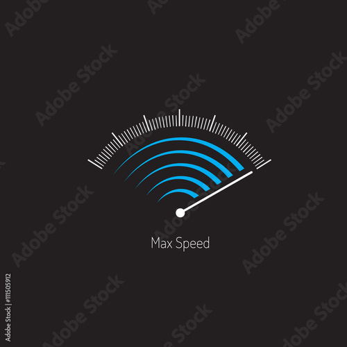 Photo  Symbol max speed meter. Blue and white gray colors