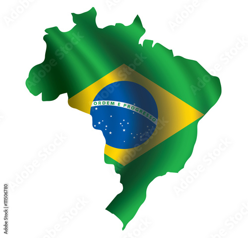 Foto  Vector Brazil flag blowing in the wind in Brazil map shape